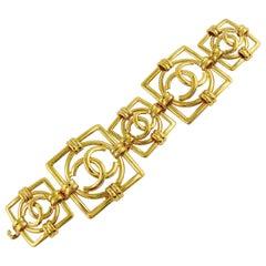Chanel Vintage Gold Toned Logo Openwork Link Bracelet