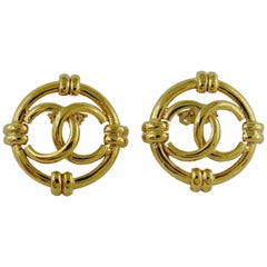 Chanel Vintage Gold Toned Openwork CC Logo Disc Clip On Earrings