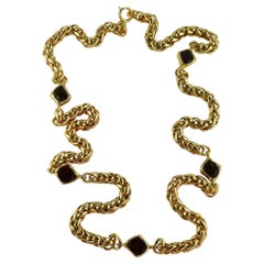 Chanel Vintage Gold Toned Palm Tree Chain Gripoix Red Glass Cabochons Necklace