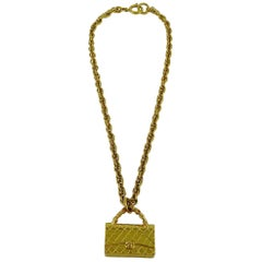 Chanel Vintage Gold Toned Quilted Bag Pendant Chain Necklace