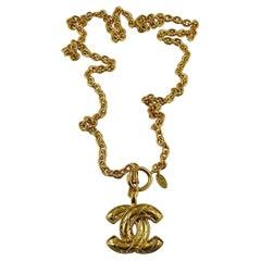 Chanel Vintage Gold Toned Quilted CC Logo Pendant Sautoir Necklace