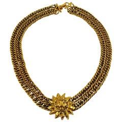Chanel Vintage Gold Toned Sunburst Lion Head Medallion Necklace