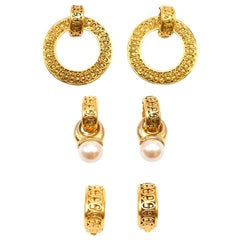 Chanel Vintage Gold Vermeil Multi Earring Set