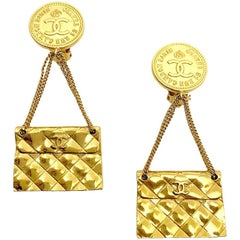 CHANEL Vintage Golden Bag Earrings