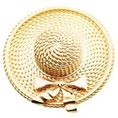 CHANEL Vintage Golden Hat Brooch
