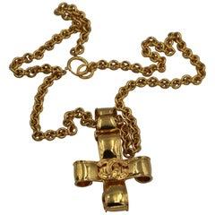 Chanel Vintage Golden Metal Logo Croos Necklace