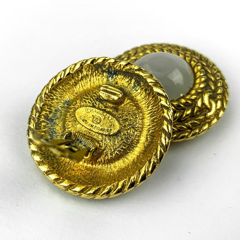Round Cut CHANEL Vintage Golden Round Earrings For Sale