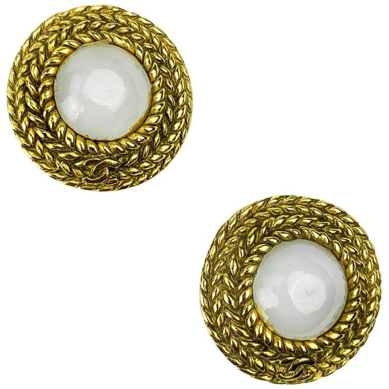 CHANEL Vintage Golden Round Earrings For Sale