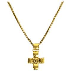 Chanel Vintage Goldtone Chainlink Necklace with CC Cross Pendant