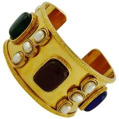 Chanel Vintage Gorgeous Byzantine Inspired Gripoix Cuff Bracelet