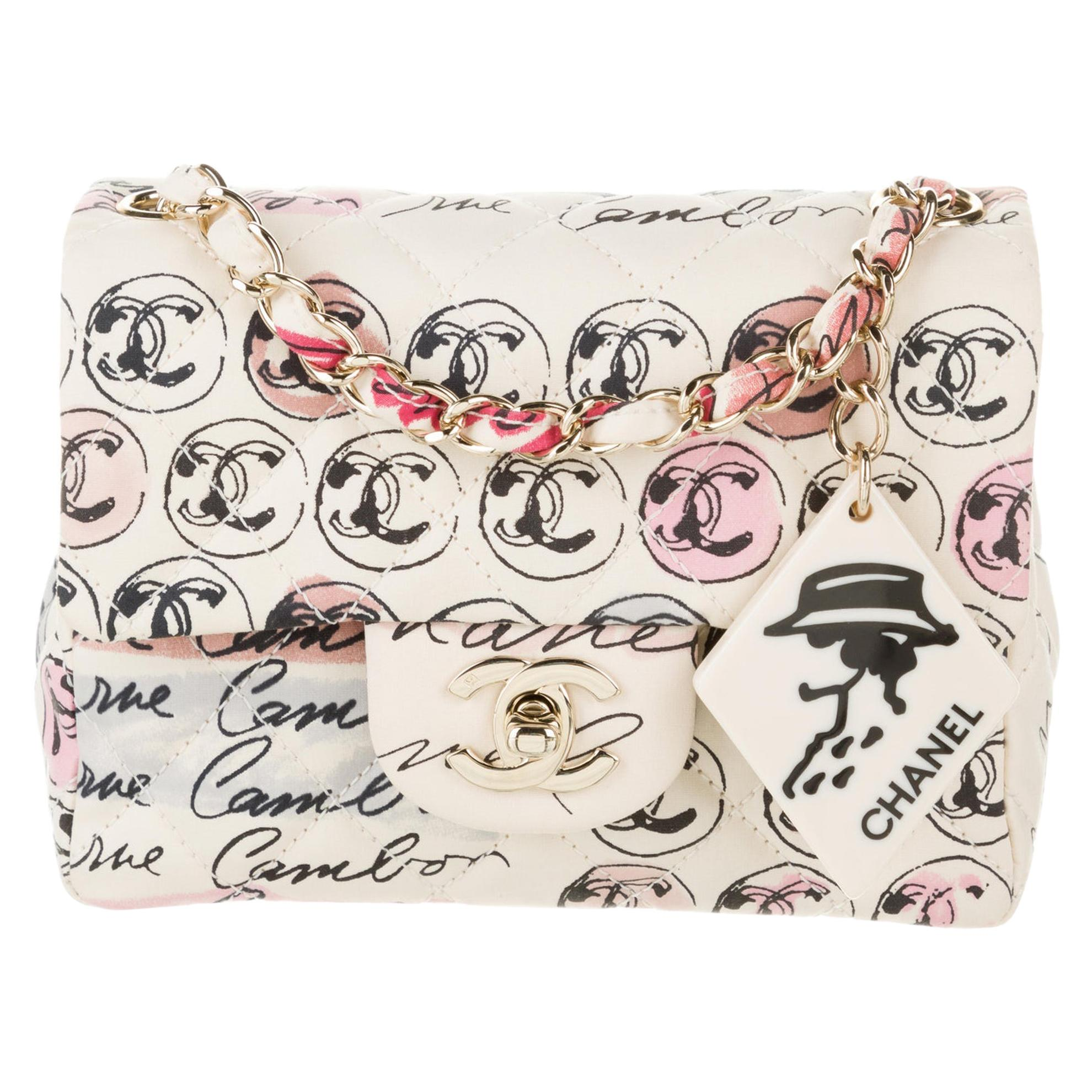 Chanel Vintage Graffiti Creme & Multicolor Mini Square CC Logo Print Flap Bag