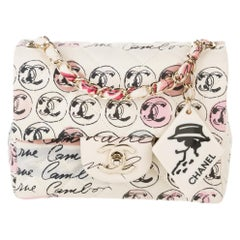 Chanel Vintage Graffiti Creme & Multicolor Mini Square CC Logo Print Flap Bag