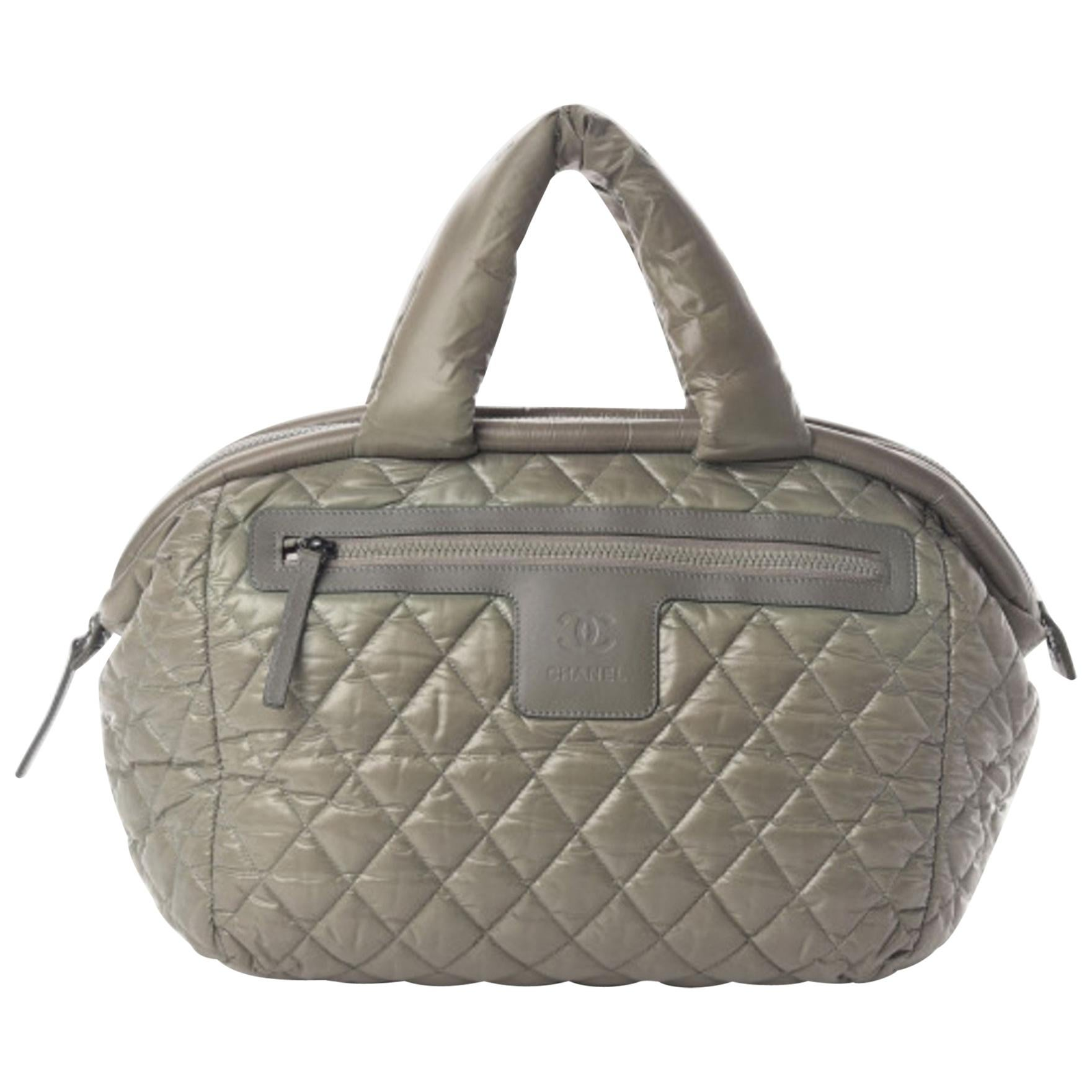 Chanel Vintage Green Nylon Quilted Coco Cocoon Bowler Tote