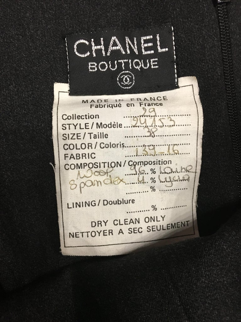 Chanel Vintage Grey Wool Jumpsuit  French size 38