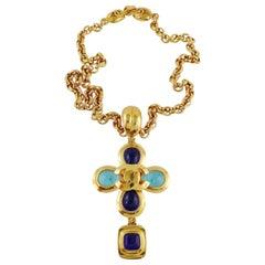 Chanel Vintage Gripoix Gold Toned Cross Pendant Necklace