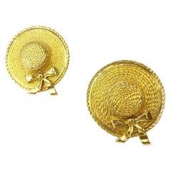 Chanel Vintage Hats Clip-on Earrings