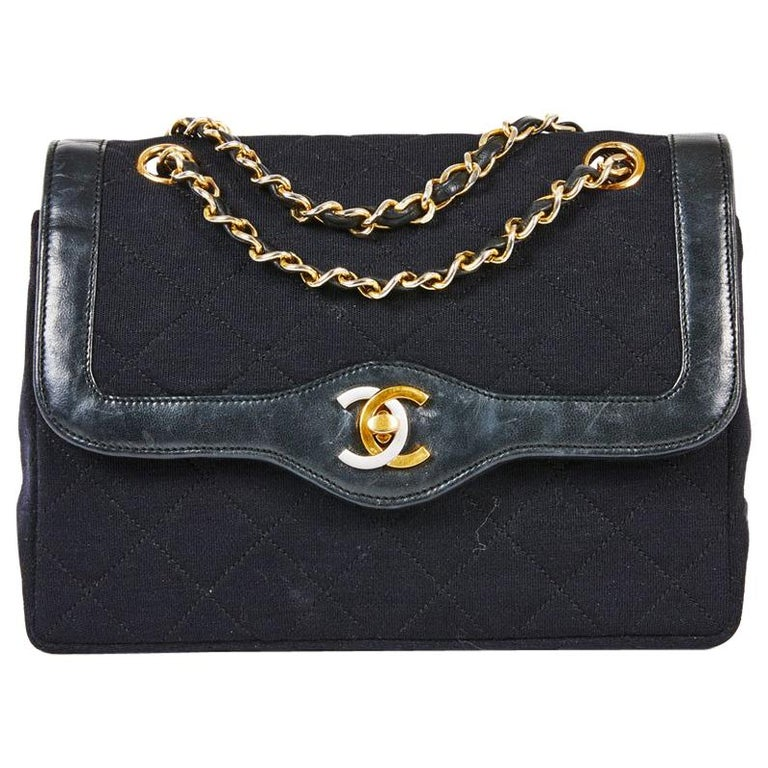 f3b25dbb0672dd CHANEL Vintage Haute Couture Double Flap Bag in Black Jersey and Leather  Border For Sale
