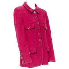 CHANEL vintage hot pink wool boucle black trim 4-pocket gold button-up jacket