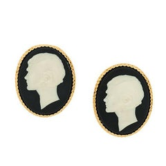 Chanel Vintage huge cameo portrait earrings