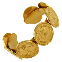 Chanel Vintage Iconic Gold Toned Coins Cuff Bracelet