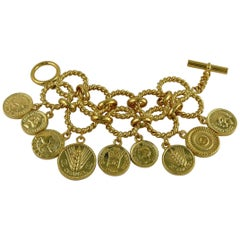 Chanel Vintage Iconic Logo Coin Medallion Charm Hoop Chain Cuff Bracelet