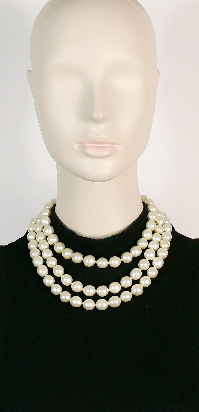 4691b4f5d03a2 Chanel Vintage Iconic Triple Strand Pearl Necklace