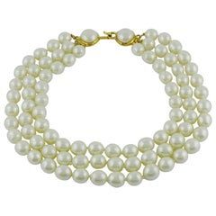 Chanel Vintage Iconic Triple Strand Pearl Necklace