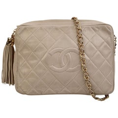 Chanel Vintage Ivory Quilted Leather CC Logo Camera Bag with Tassel