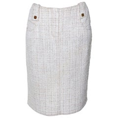 Chanel Vintage Ivory Tweed Pencil Skirt M