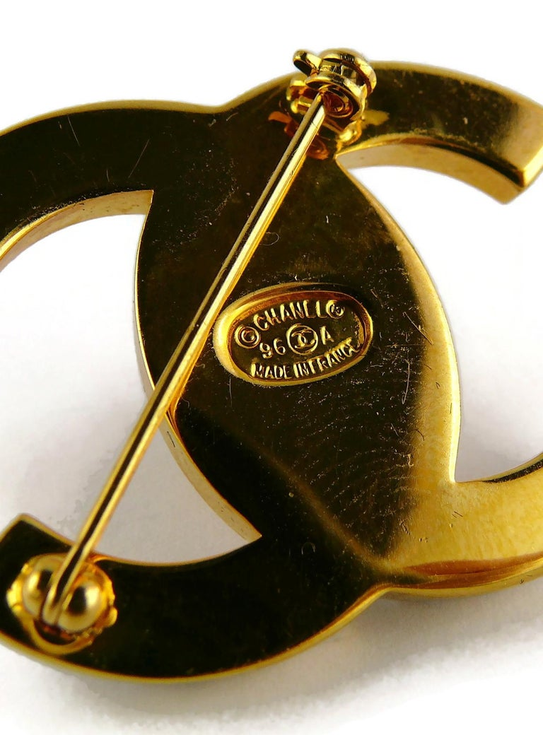 Chanel Vintage Jewelled CC Turn Lock Brooch Fall 1996 For Sale 6