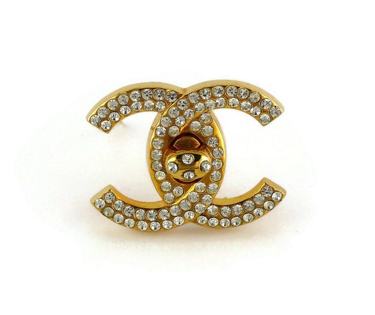 Women's Chanel Vintage Jewelled CC Turn Lock Brooch Fall 1996 For Sale