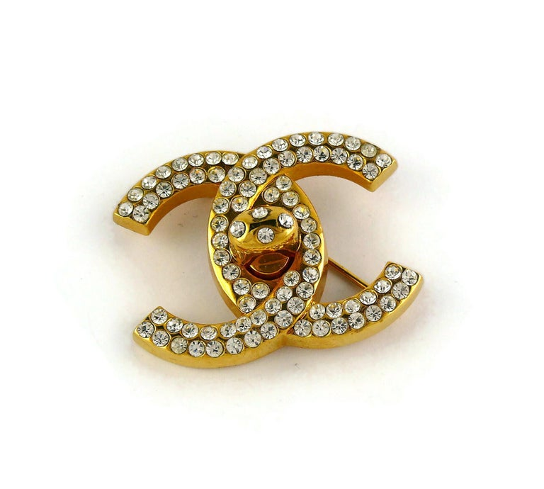 Chanel Vintage Jewelled CC Turn Lock Brooch Fall 1996 For Sale 2