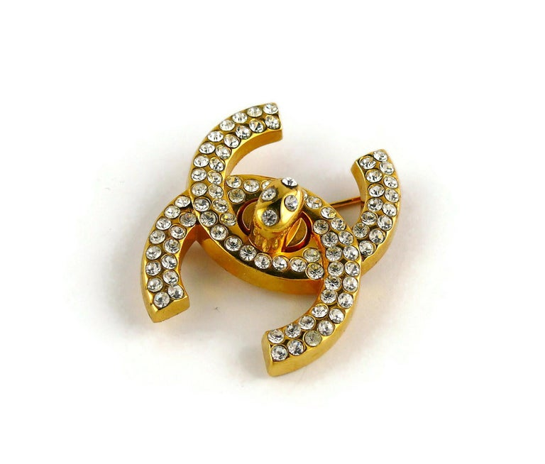 Chanel Vintage Jewelled CC Turn Lock Brooch Fall 1996 For Sale 3