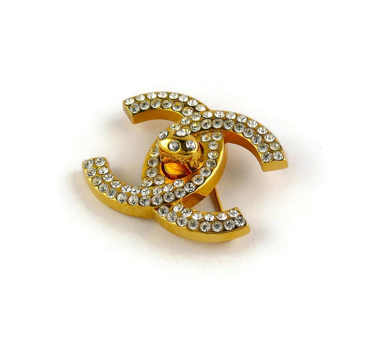 Chanel Vintage Jewelled CC Turn Lock Brooch Fall 1996 For Sale 4