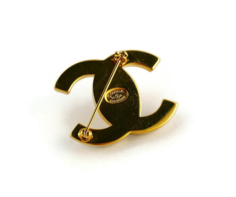 Chanel Vintage Jewelled CC Turn Lock Brooch Fall 1996 For Sale 5
