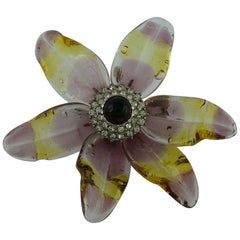 Chanel Vintage Jewelled Glass Flower Brooch Pendant Spring 1998