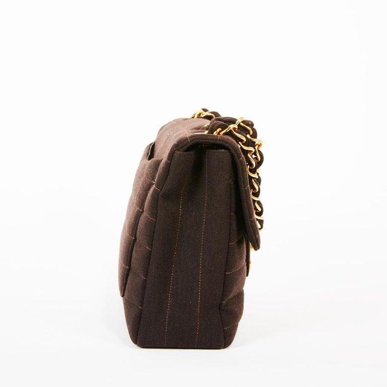 Black CHANEL Vintage Jumbo Bag in Brown Jersey For Sale