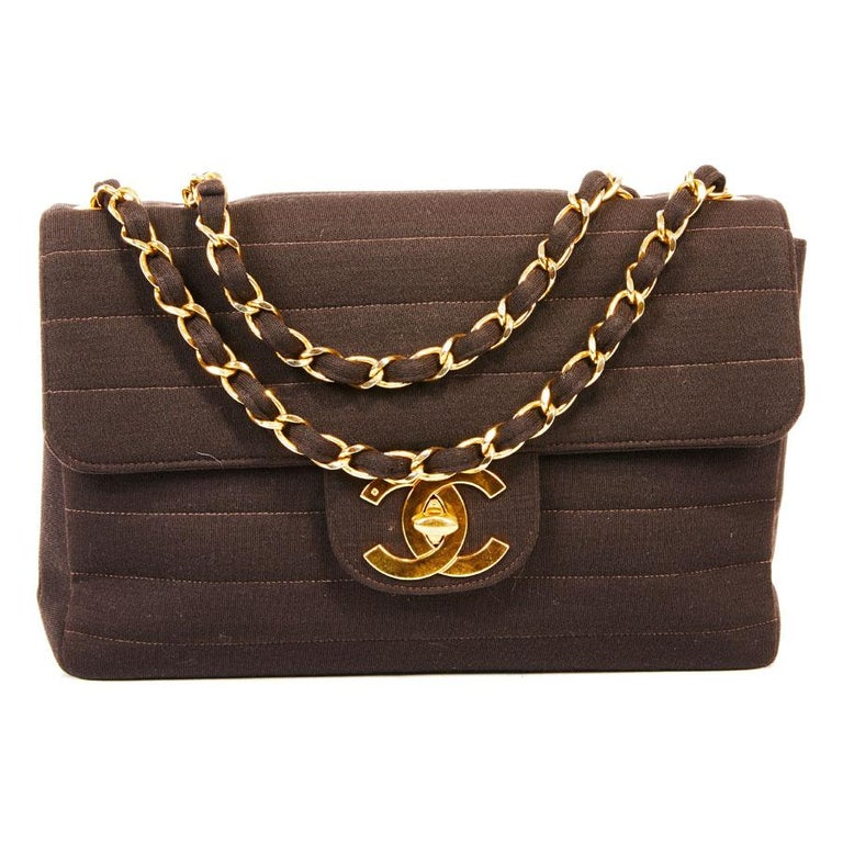 CHANEL Vintage Jumbo Bag in Brown Jersey For Sale