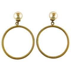Chanel Vintage Jumbo Hoop Earrings CC Pearl Drop Spring 1997