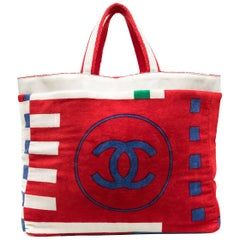 Chanel Vintage Jumbo Large CC Reversible Multicolor Lego Two Tone Red Beach Tote