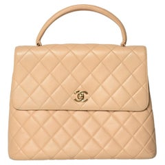 Chanel Vintage Kelly Cavier Top Handle Classic Bag Beige