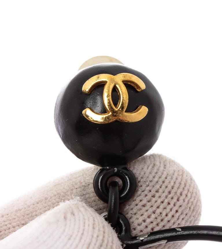 Women's Chanel Vintage Large CC Perfume Bottle Dangle Hoop Clip-On Earrings  For Sale