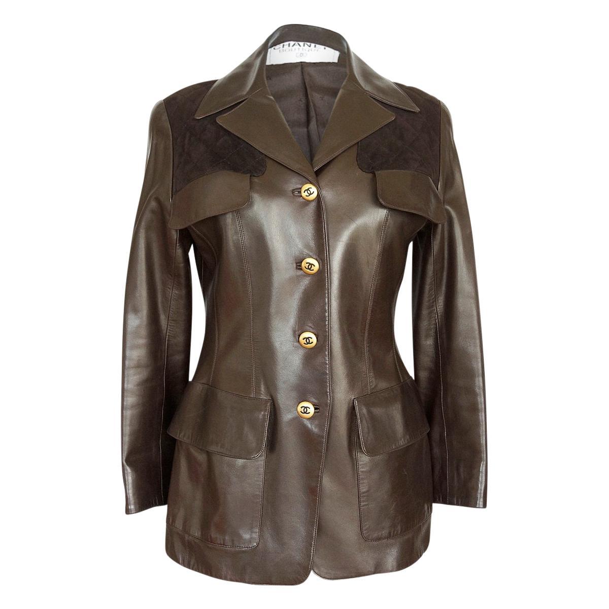 Chanel Vintage Leather Jacket Lots CC Buttons Rear Button Vent 40 / 6 mint