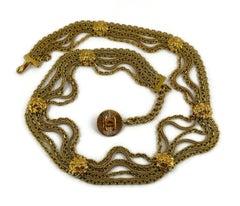 Chanel Vintage Lion Head Medallion Gold Toned Belt