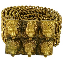 Chanel Vintage Lion Heads Buckle Chain Belt