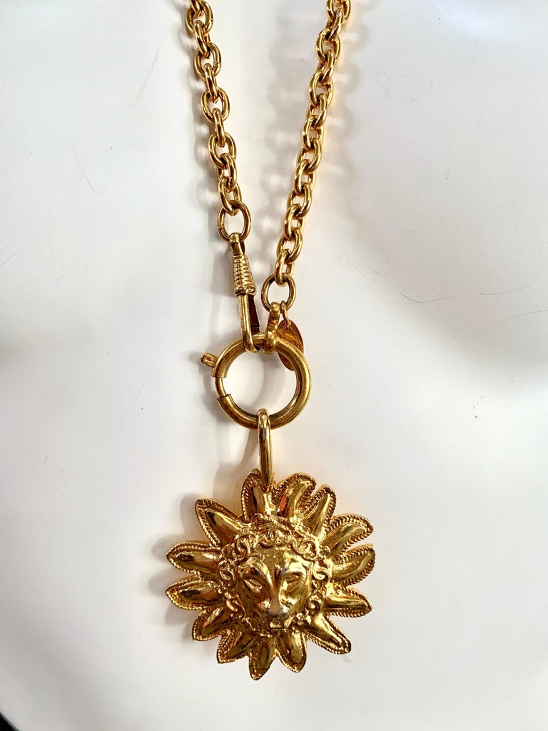 Gold Medallion Lion Vintage Chanel Necklace.  Such a collector's item! Marked on the underside with Chanel stamp.   (No box)
