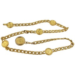 Chanel vintage logo belt in gold metal – size 90