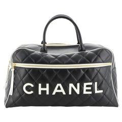 Chanel Vintage Logo Bowler Bag Quilted Lambskin Large