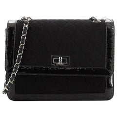 Chanel Vintage Mademoiselle Flap Bag Quilted Canvas with Patent Small