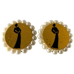 Chanel Vintage Mademoiselle Silhouette  Pearl Clip-On Earrings